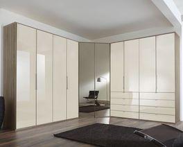 Eck-Kleiderschrank Tiko mit Glasfronten in Magnolie