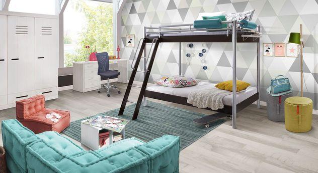 jugendzimmer komplett mit modernem metall etagenbett finn. Black Bedroom Furniture Sets. Home Design Ideas