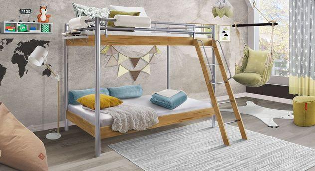 Etagenbett Steven aus Kernbuche mit zwei Schlafplätzen