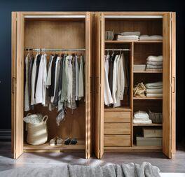 Praktischer Falttüren-Kleiderschrank Lisana optional mit Innenausstattung
