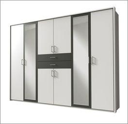 zweifarbiger kleiderschrank mit schubladen spiegel belcastro. Black Bedroom Furniture Sets. Home Design Ideas