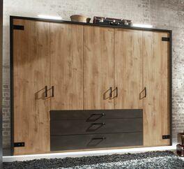 Funktions-Kleiderschrank Lakewood mit dunklen Schubladen
