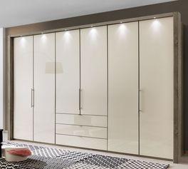 Falttüren des Funktions-Kleiderschranks Tiko mit Glasfronten