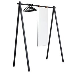 Schwarz lackierte Massivholz-Garderobe Toffia