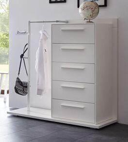 Garderoben-Kommode Cilona aus weißem Massivholz