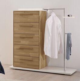 Garderoben-Kommode Weronco mit Kleiderstange und Utensilienhalter