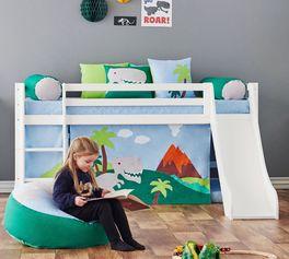 Halbhohes Bett Dinosaurier Rutsche optional erhältlich