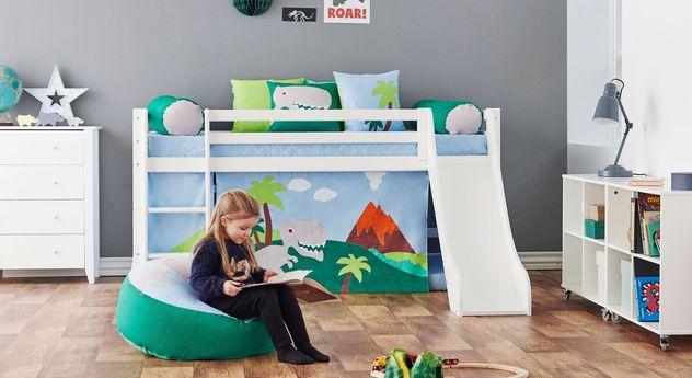 Zertifiziertes Dinosaurier-Bett in halber Höhe für Kleinkinder