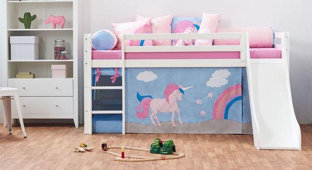 Halbhohes Bett Einhorn mit Leiter und optionaler Rutsche