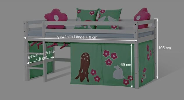 Bemaßungsgrafik zum Halbhohen Bett Kids Heaven