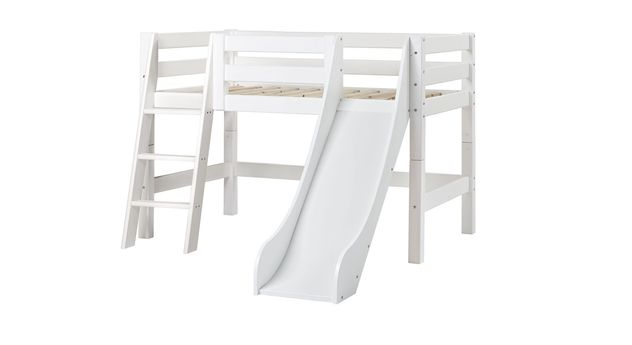 70x160 cm großes halbhohes Rutschen-Bett Kids royalty mit schräger Leiter