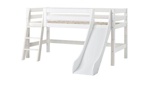 90x200 cm großes halbhohes Rutschen-Bett Kids Royalty mit schräger Leiter