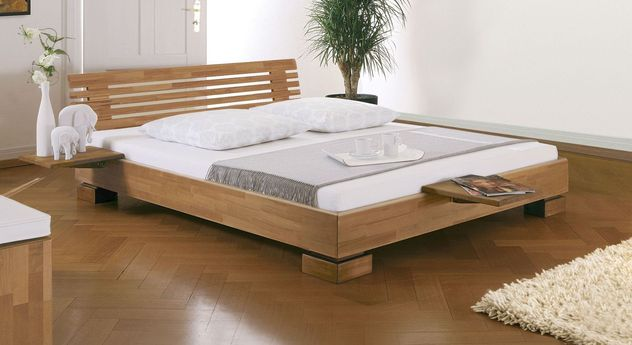 Holzbett Como  aus Kernbuche mit 18 cm Rahmenhöhe