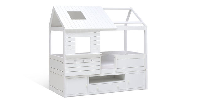LIFETIME Hütten-Kojenbett Sternenglanz mit Dach und optionalem Vorhang