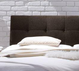 Bett Hamina mit weichem Strukturstoff-Kopfteil