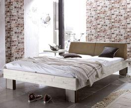 Bett Salla in Luxus-Kunstleder-Holz Kombination