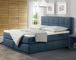 Boxspringbett Belfort in gestepptem Webstoff in Blau
