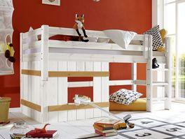 Hütten-Hochbett Kids Paradise stabil montiert aus Massivholz