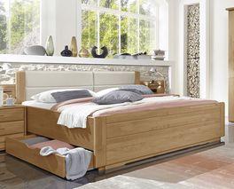 Schubkasten-Doppelbett Narita mit Kunstleder-Polsterkopfteil