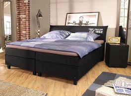 Boxspringbett Tom Tailor Color mit Nachttisch in Schwarz