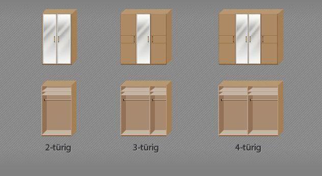 Grafik der Inneneinteilung des praktischen Kleiderschranks Temara