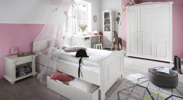 jugendzimmer im landhausstil wei gewachste kiefer countryside. Black Bedroom Furniture Sets. Home Design Ideas
