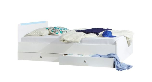 Jugendbett Los Pinos mit blauer Zierleiste