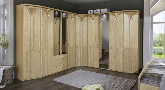 ber eck kleiderschrank birke teilmassiv mit spiegel karia. Black Bedroom Furniture Sets. Home Design Ideas