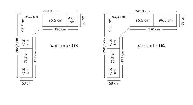 Breitenansicht der Varianten vom Eck-Kleiderschrank Karia