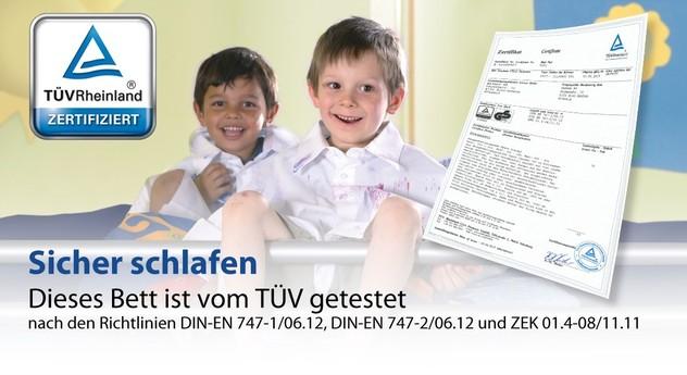 Sichere Kinder- und Jugenbetten mit TÜV-Prüfzeichen