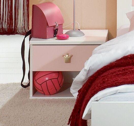 Nachttisch Embala in alpinweißem und roséfarbenem Dekor