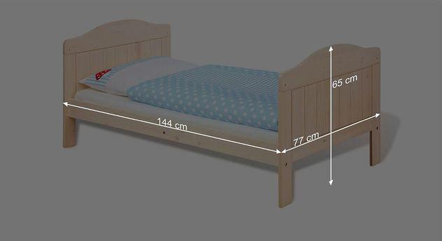 Bemaßungsskizze zum Kinderbett Finja umgebaut zum Juniorbett