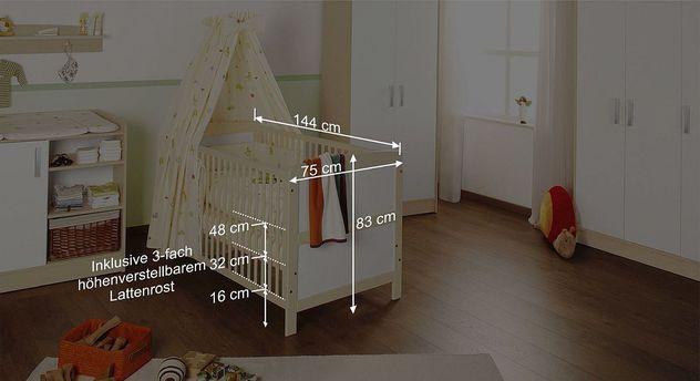 Bemaßungsskizze zum Kinderbett Florian