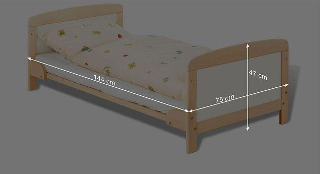 Bemaßungsskizze zum Kinderbett Florian in der Juniorbett Variante