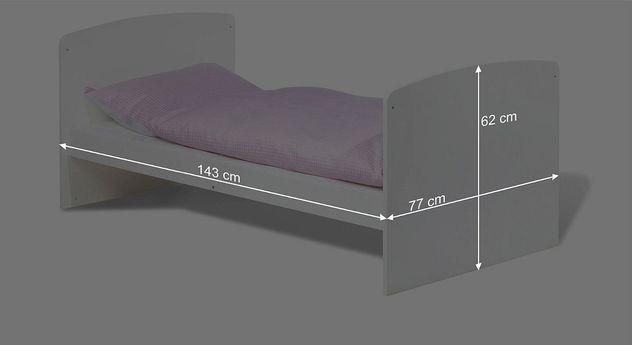 Bemaßungsskizze zum Kinderbett Jil umgebaut zum Juniorbett