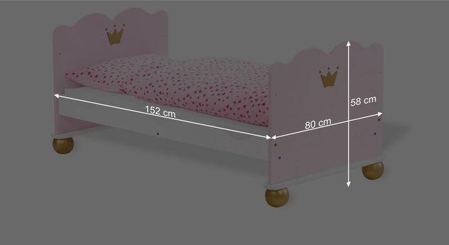 Bemaßungsskizze zum Kinderbett Prinzessin Karolin umgebaut zum Juniorbett