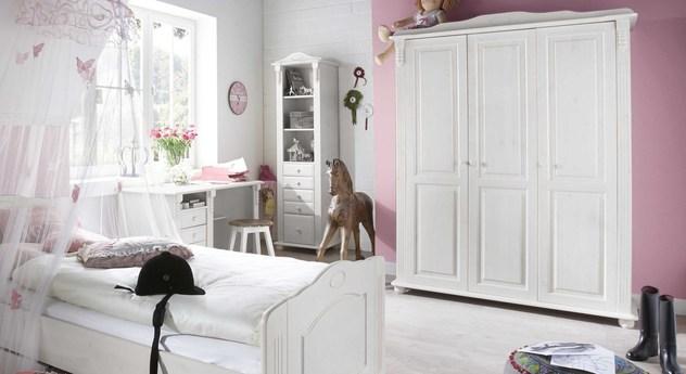 Weiß gewachster Kleiderschrank Countryside für Kinderzimmer