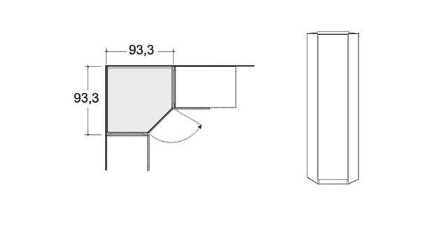 Maße vom eintürigen Kleiderschrank Eckelement Palena