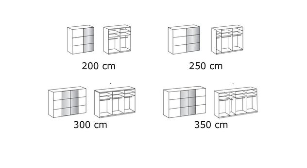 Kleiderschrank Taipana mit Grafik zu den Varianten