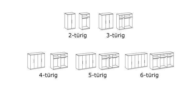 Grafik zur Inneneinteilung des Kleiderschranks Tramonti