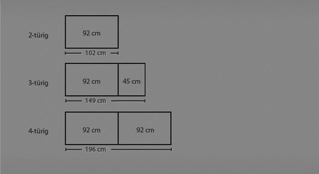 Grafik zu den Größenverhältnissen des Drehtüren-Kleiderschranks Triest