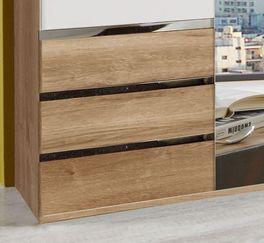 Kleiderschrank Valloria inklusive Schubladen mit Griffleisten in Metall-Optik