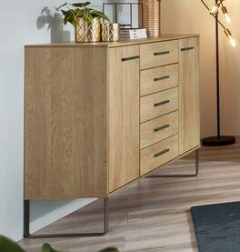 Kombi-Kommode Vitoria mit modernem Design in Eiche teilmassiv