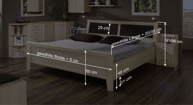 Komfort-Doppelbett Rapinos Bemaßungsgrafik
