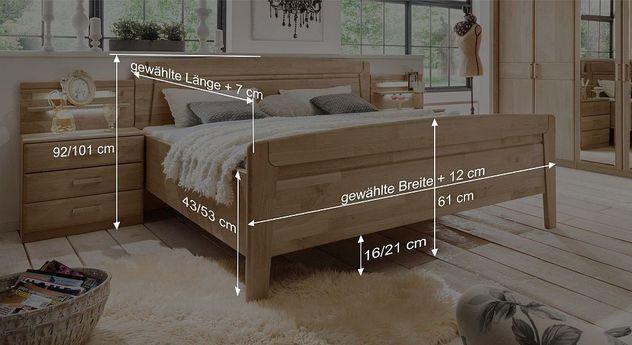Komfort-Doppelbett Temaras Bemaßungsskizze