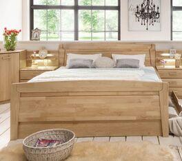 Echtholz Komfort-Doppelbett Temara mit praktischem Stauraum