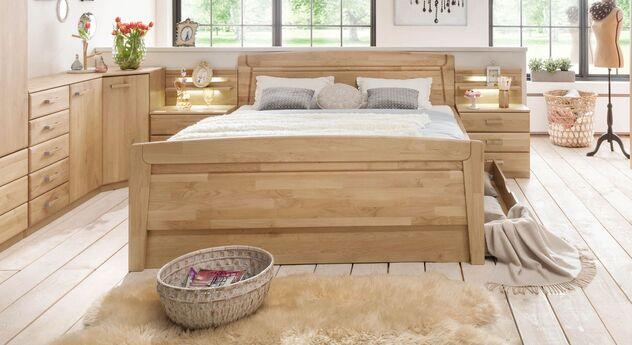 Robustes Komfort-Doppelbett Temara aus massivem Erlenholz