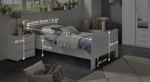 Schlichtes Komfort-Einzelbett Aradeo mit Maßgrafik