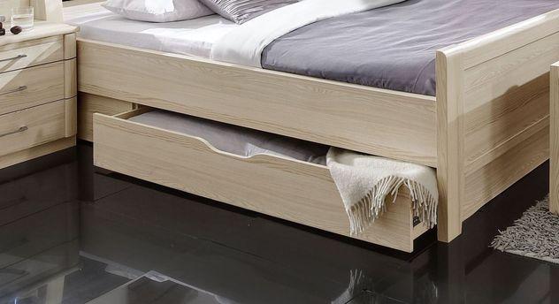 Komfortables Doppelbett Rapino mit Griffmulde am Schubkasten