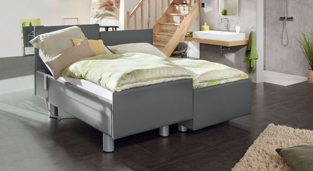 Komfortbett mit Pflegebett-Funktion Fulda in platinfarbenem Kunstleder